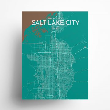 """Salt Lake City city map poster in Nature of size 18"""" x 24"""""""