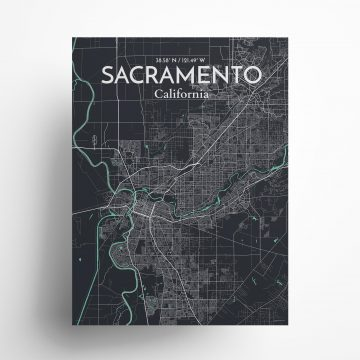 "Sacramento city map poster in Dream of size 18"" x 24"""