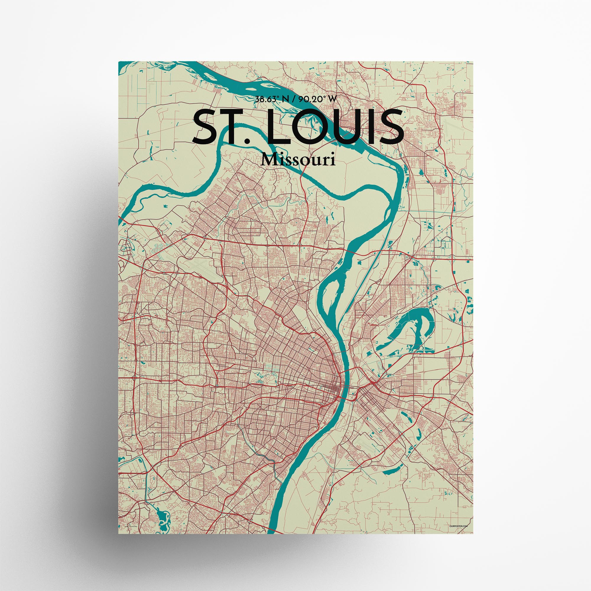 """St. Louis city map poster in Tricolor of size 18"""" x 24"""""""