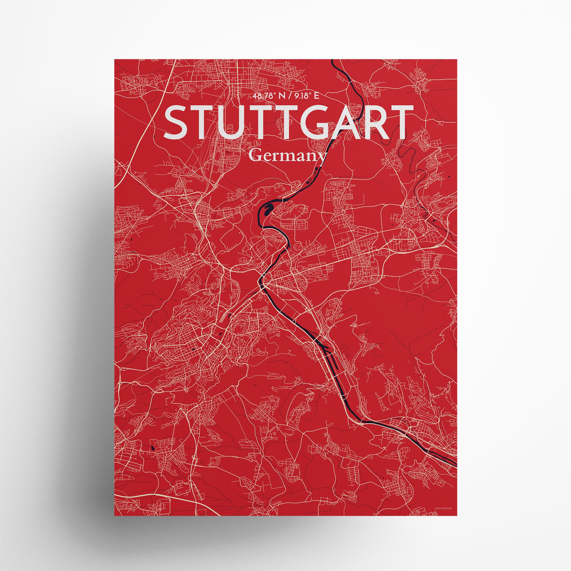 "Stuttgart city map poster in Nautical of size 18"" x 24"""
