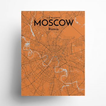 "Moscow city map poster in Oranje of size 18"" x 24"""