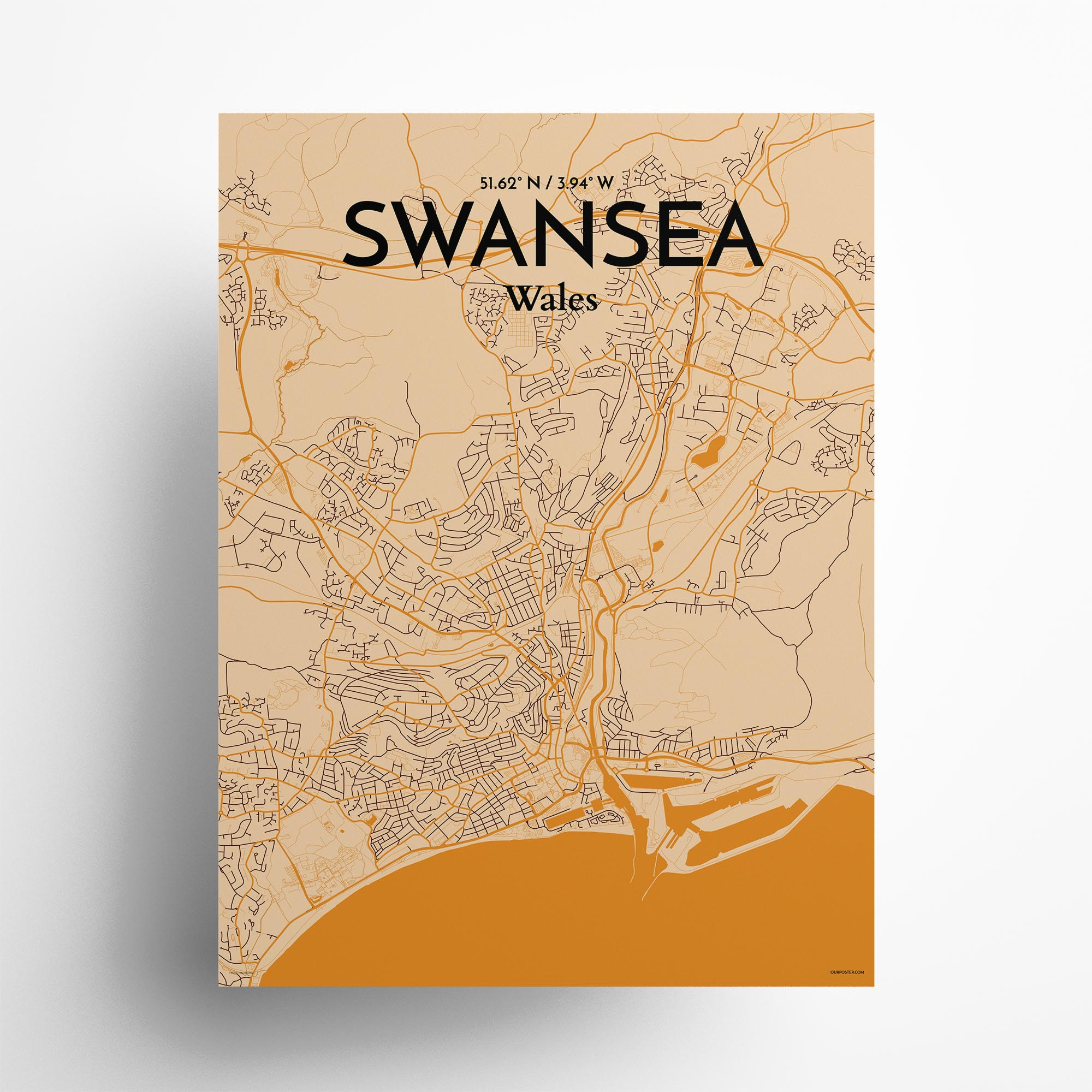 "Swansea city map poster in Vintage of size 18"" x 24"""