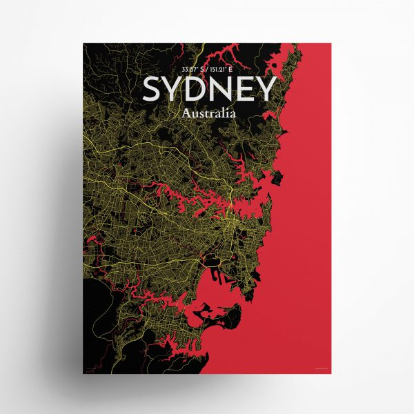 """Sydney city map poster in Contrast of size 18"""" x 24"""""""