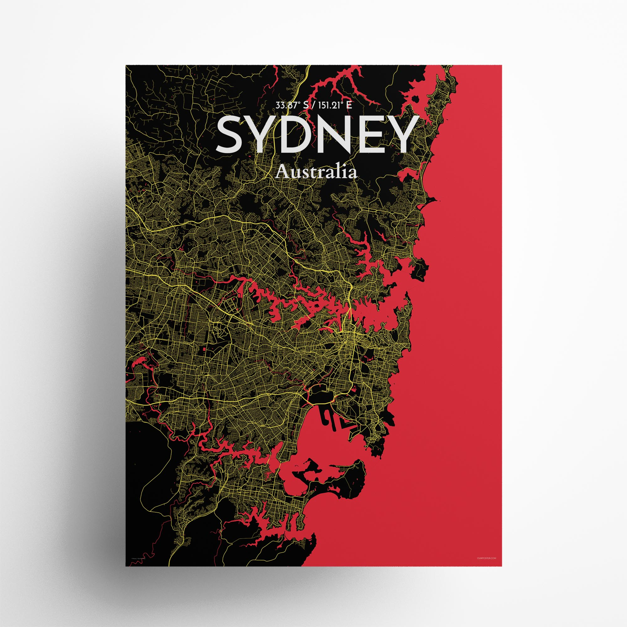 "Sydney city map poster in Contrast of size 18"" x 24"""