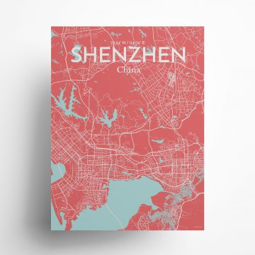 "Shenzhen city map poster in Maritime of size 18"" x 24"""