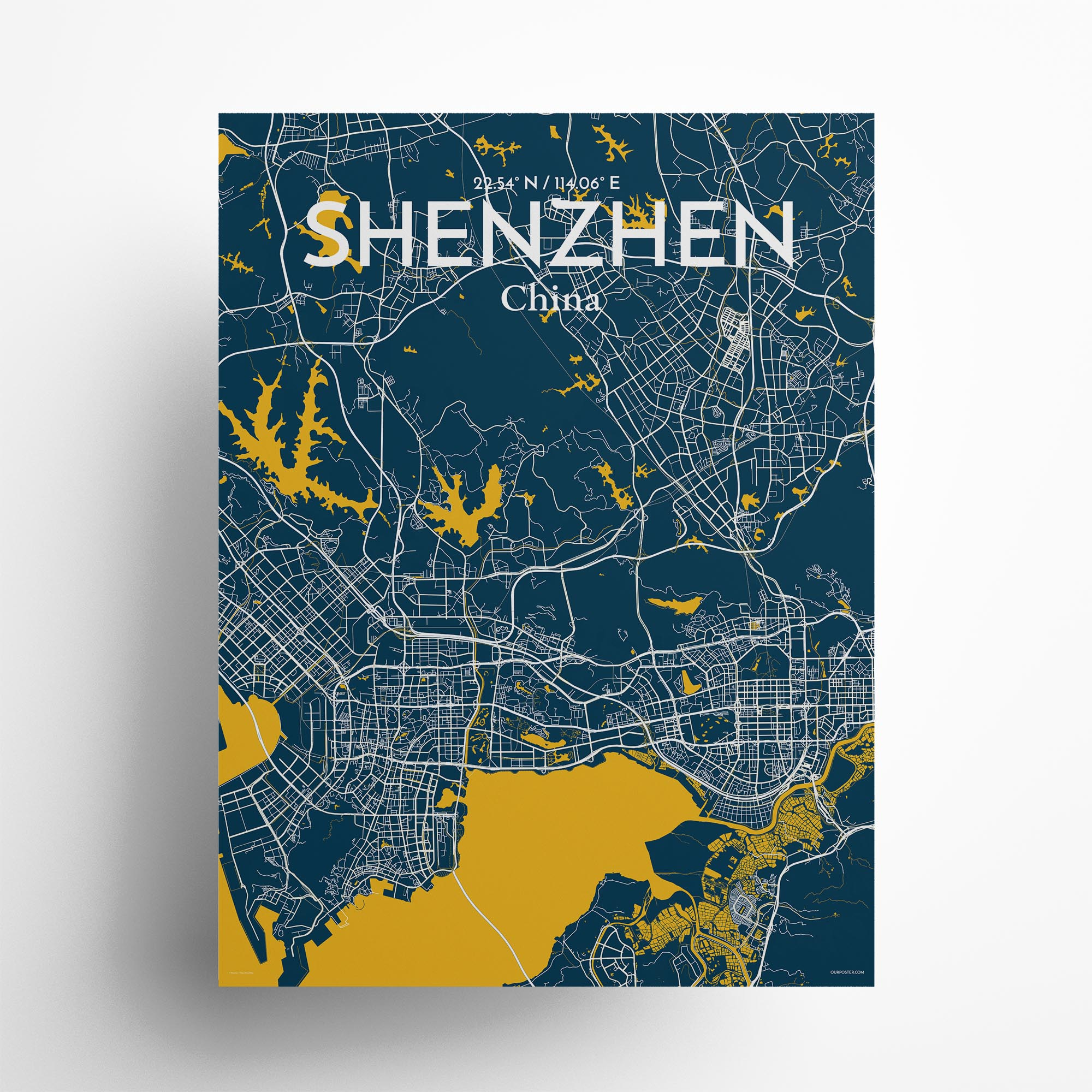 """Shenzhen city map poster in Amuse of size 18"""" x 24"""""""