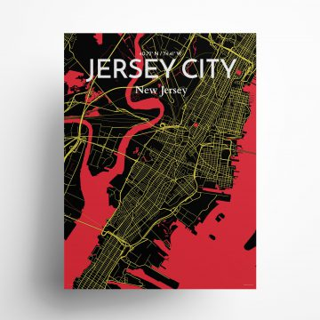 """Jersey City city map poster in Contrast of size 18"""" x 24"""""""
