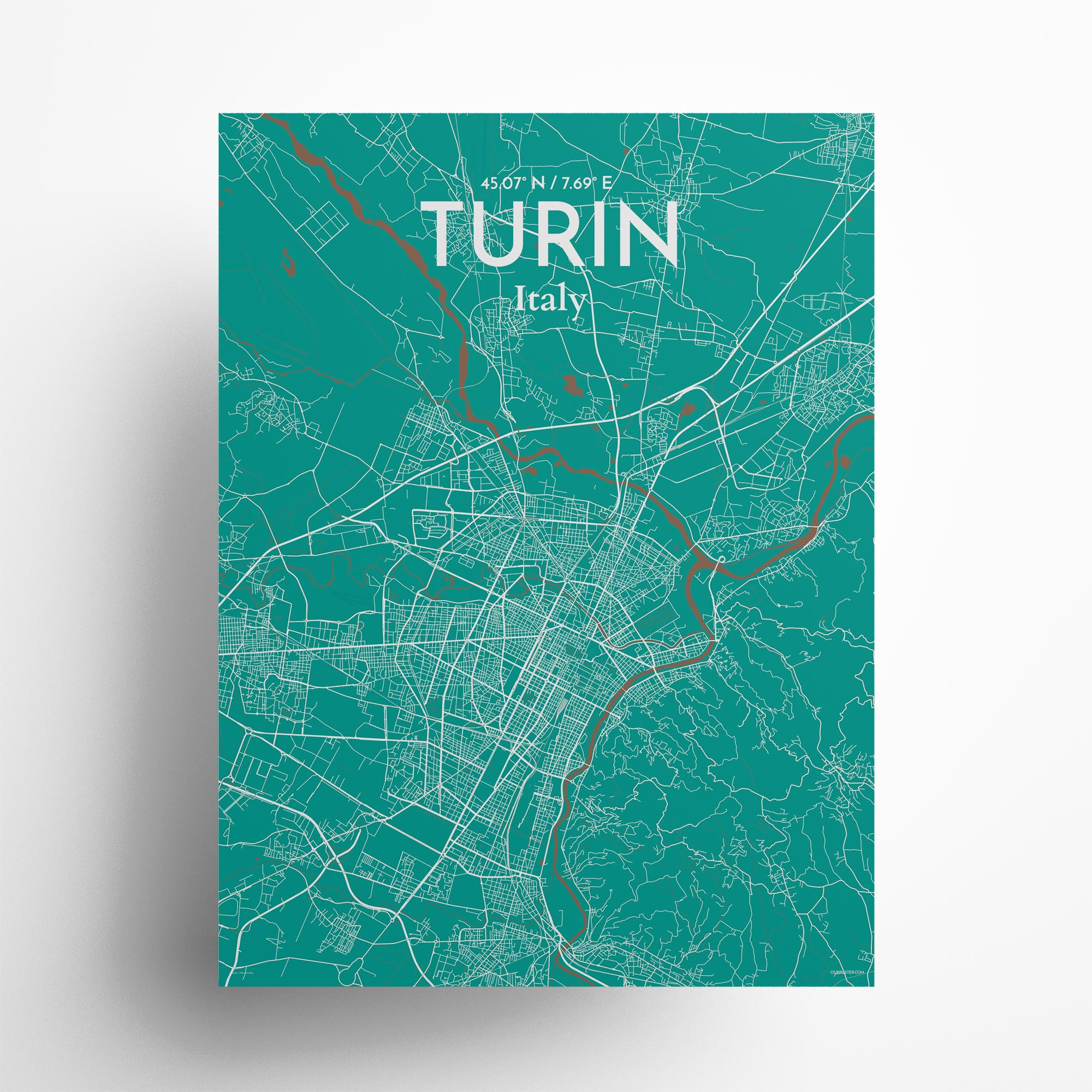 "Turin city map poster in Nature of size 18"" x 24"""