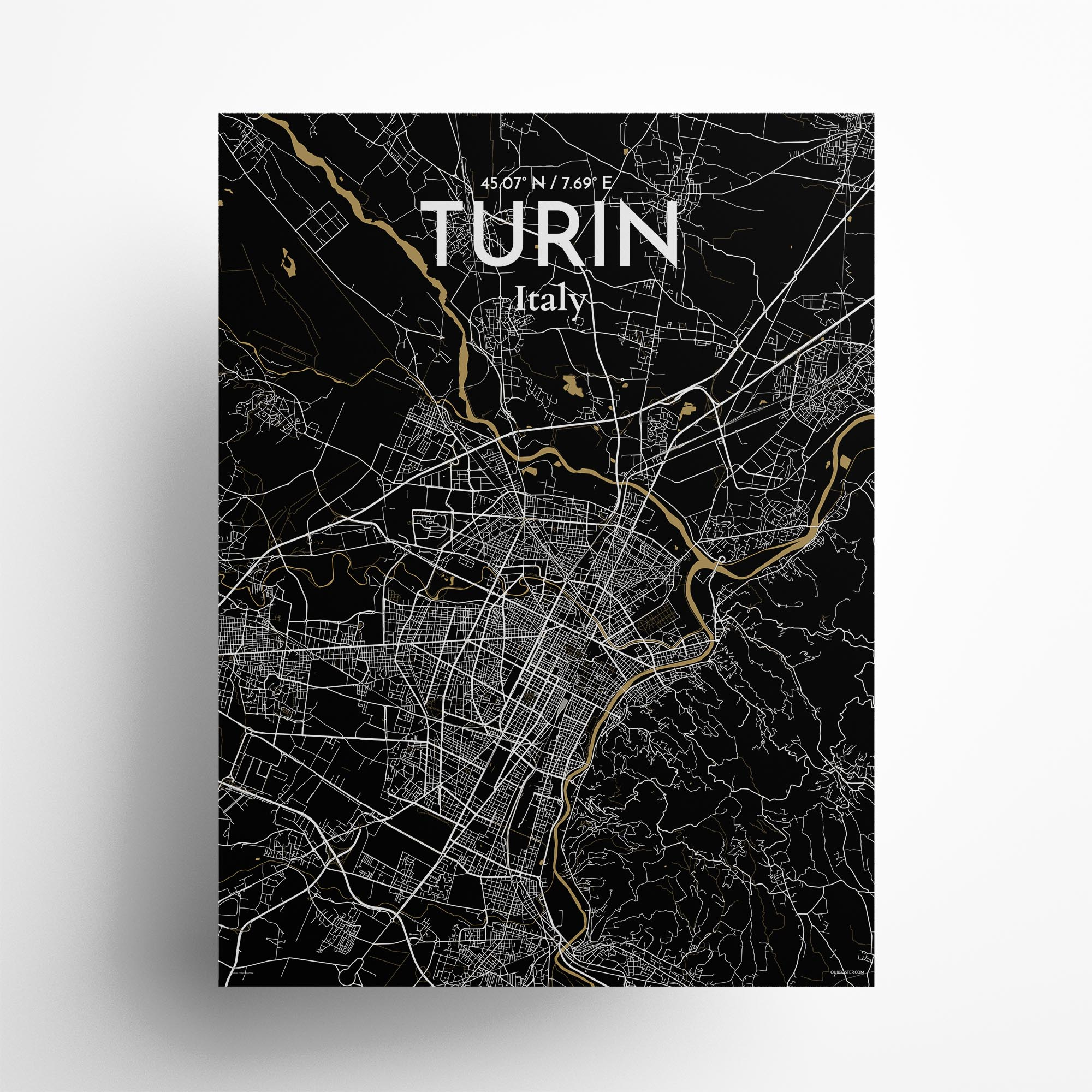 "Turin city map poster in Luxe of size 18"" x 24"""