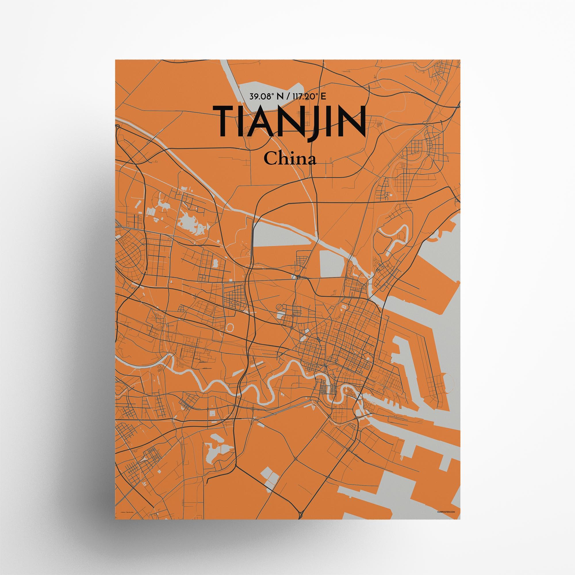 "Tianjin city map poster in Oranje of size 18"" x 24"""