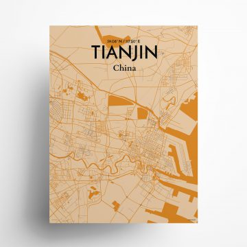 "Tianjin city map poster in Vintage of size 18"" x 24"""
