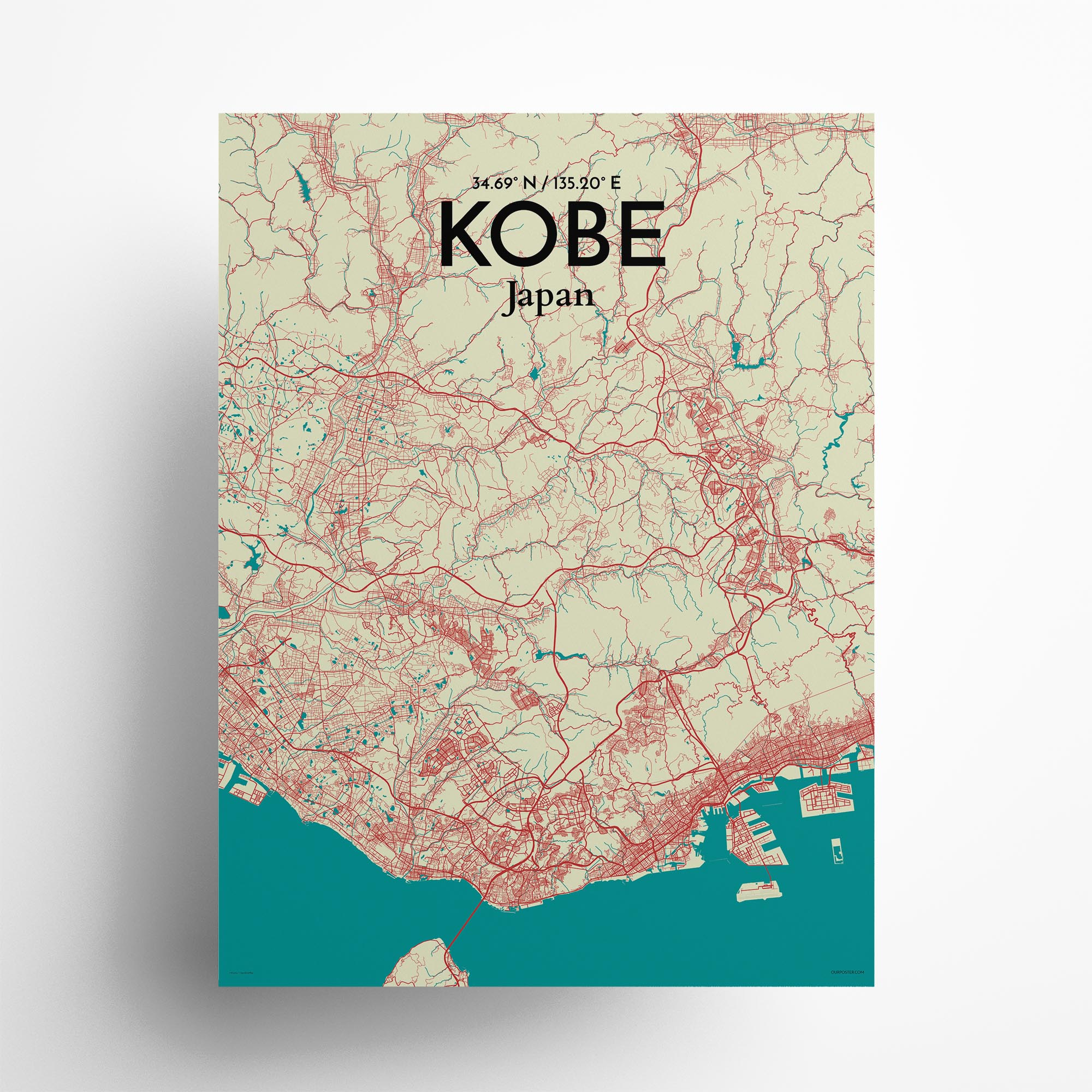 "Kobe city map poster in Tricolor of size 18"" x 24"""