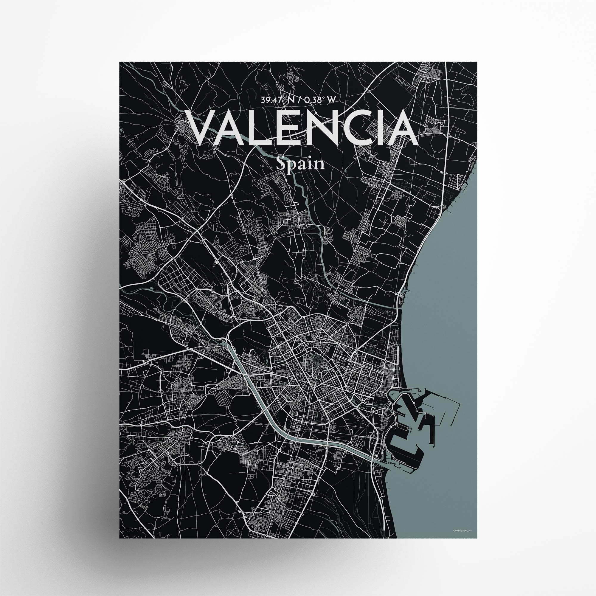 "Valencia city map poster in Midnight of size 18"" x 24"""