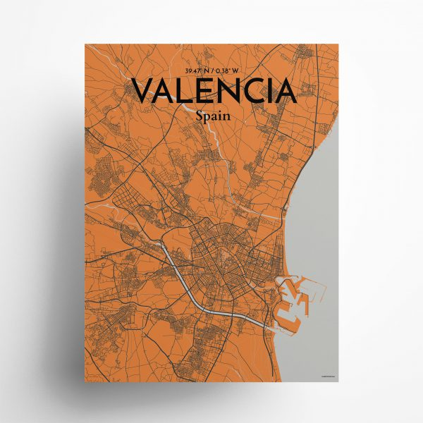 "Valencia city map poster in Oranje of size 18"" x 24"""