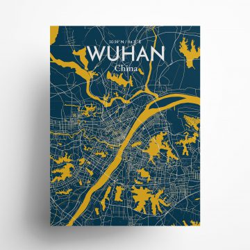 "Wuhan city map poster in Amuse of size 18"" x 24"""