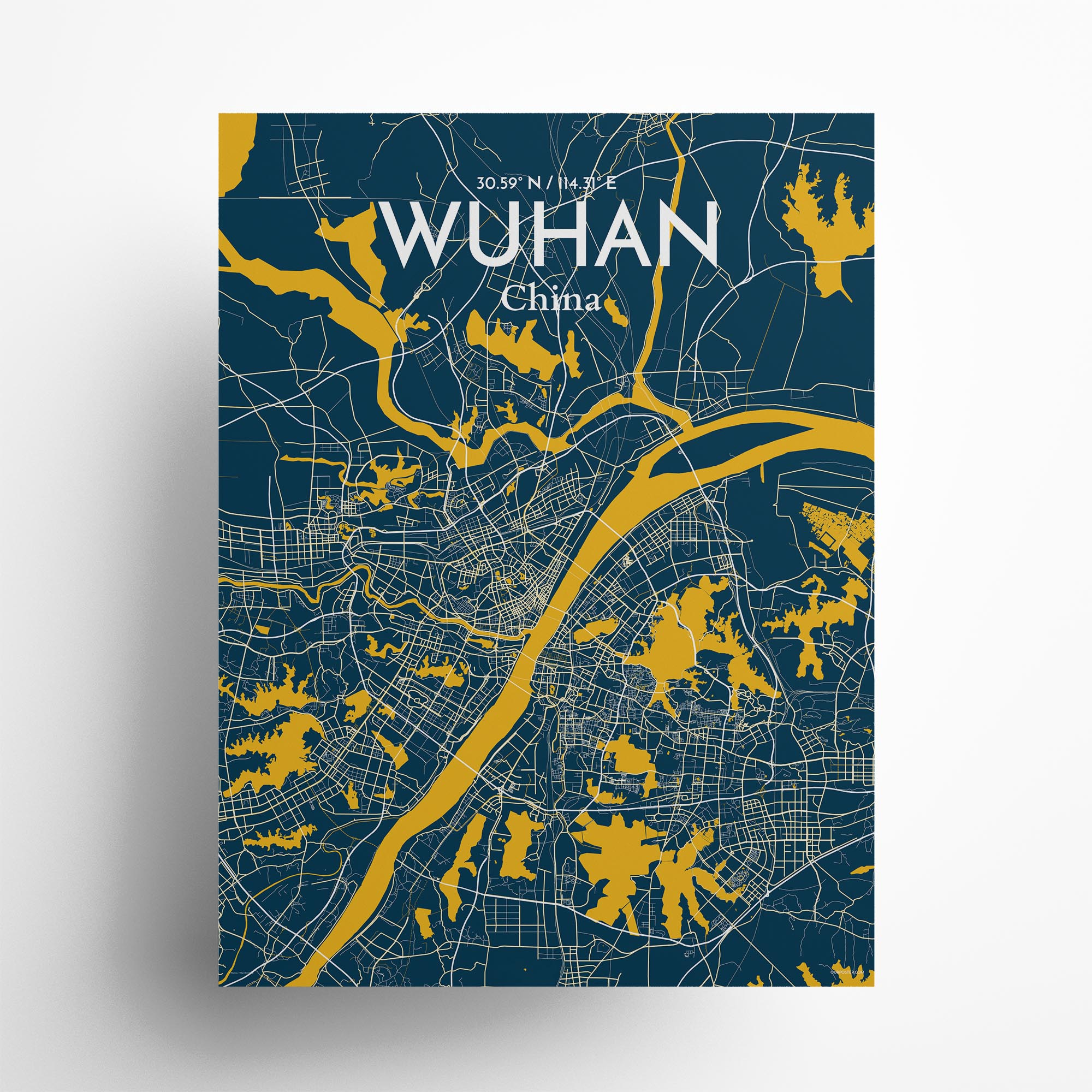 """Wuhan city map poster in Amuse of size 18"""" x 24"""""""