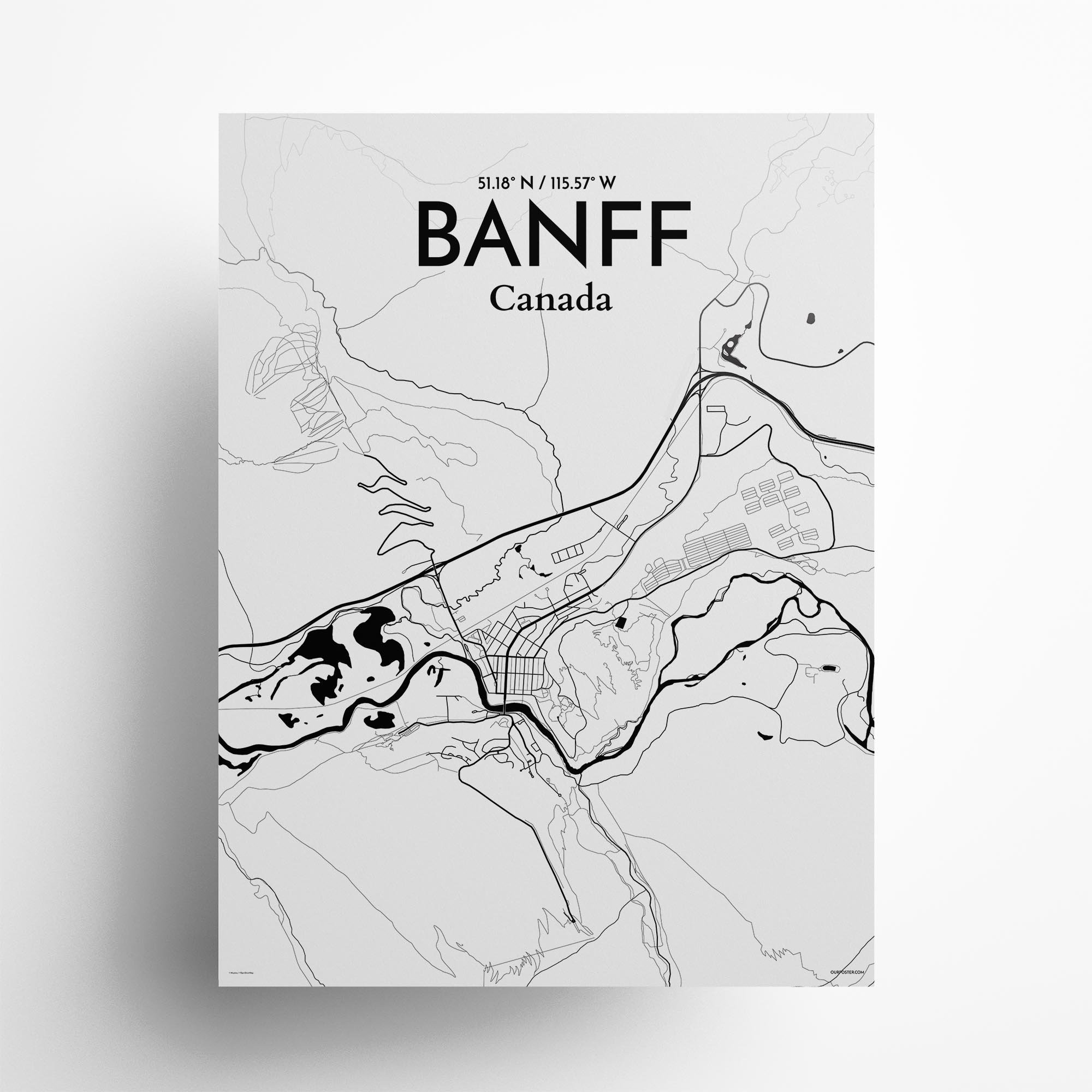 "Banff city map poster in Ink of size 18"" x 24"""