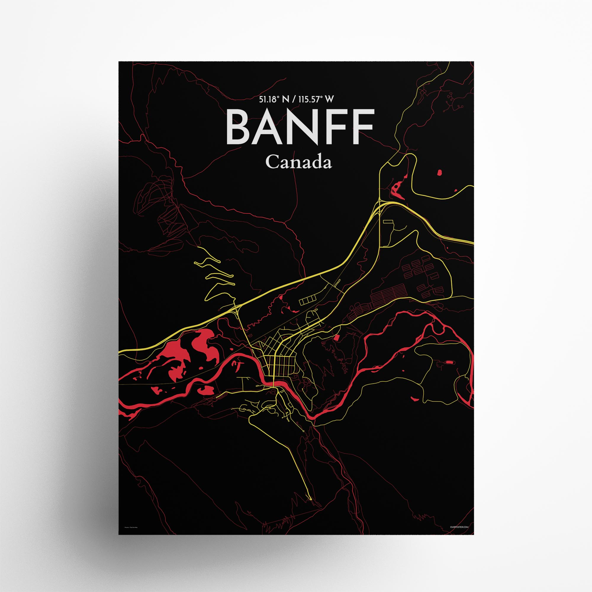 "Banff city map poster in Contrast of size 18"" x 24"""
