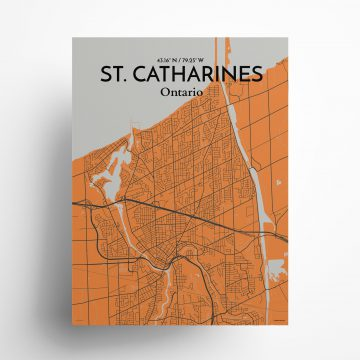 """St. Catharines city map poster in Oranje of size 18"""" x 24"""""""