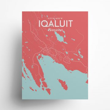 """Iqaluit city map poster in Maritime of size 18"""" x 24"""""""