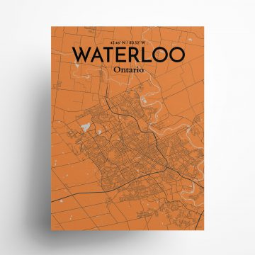 """Waterloo city map poster in Oranje of size 18"""" x 24"""""""