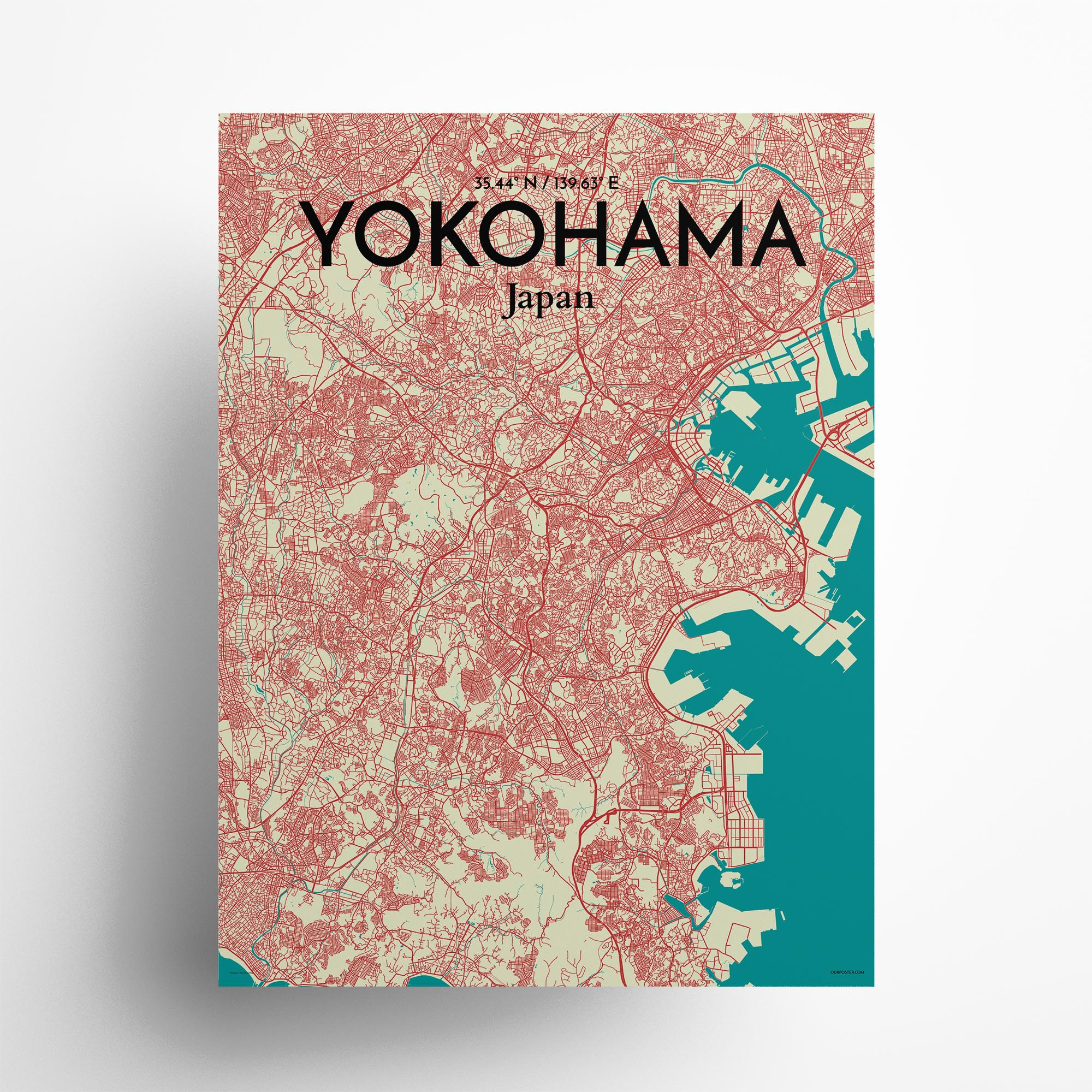 "Yokohama city map poster in Tricolor of size 18"" x 24"""