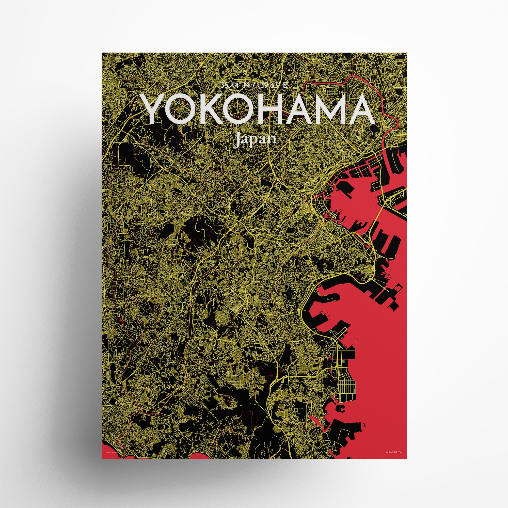 """Yokohama city map poster in Contrast of size 18"""" x 24"""""""