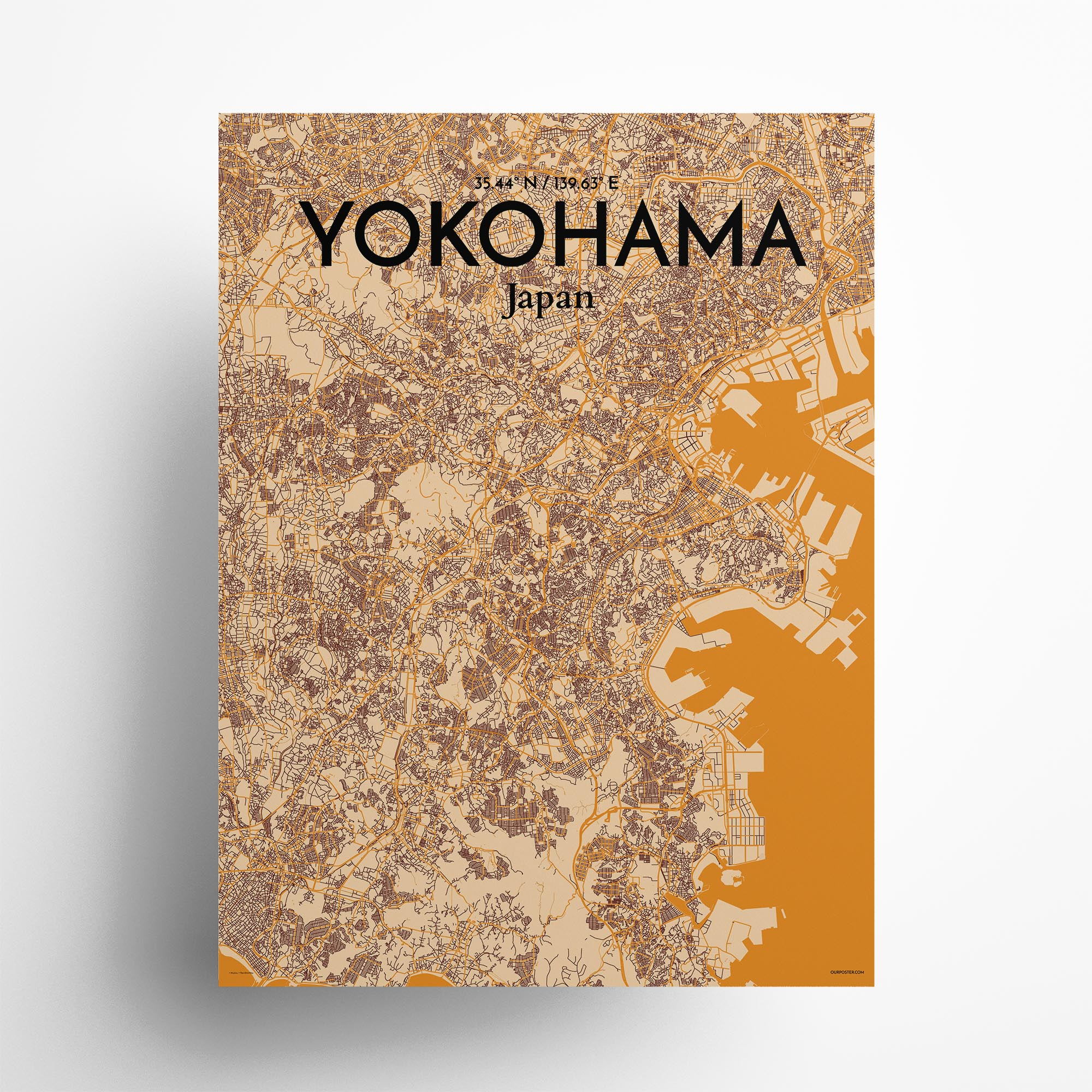 "Yokohama city map poster in Vintage of size 18"" x 24"""