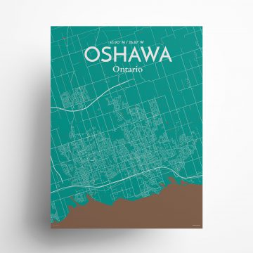 """Oshawa city map poster in Nature of size 18"""" x 24"""""""
