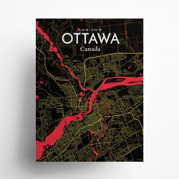 """Ottawa city map poster in Contrast of size 18"""" x 24"""""""