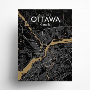"Ottawa city map poster in Luxe of size 18"" x 24"""