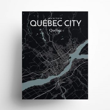 """Quebec City city map poster in Midnight of size 18"""" x 24"""""""