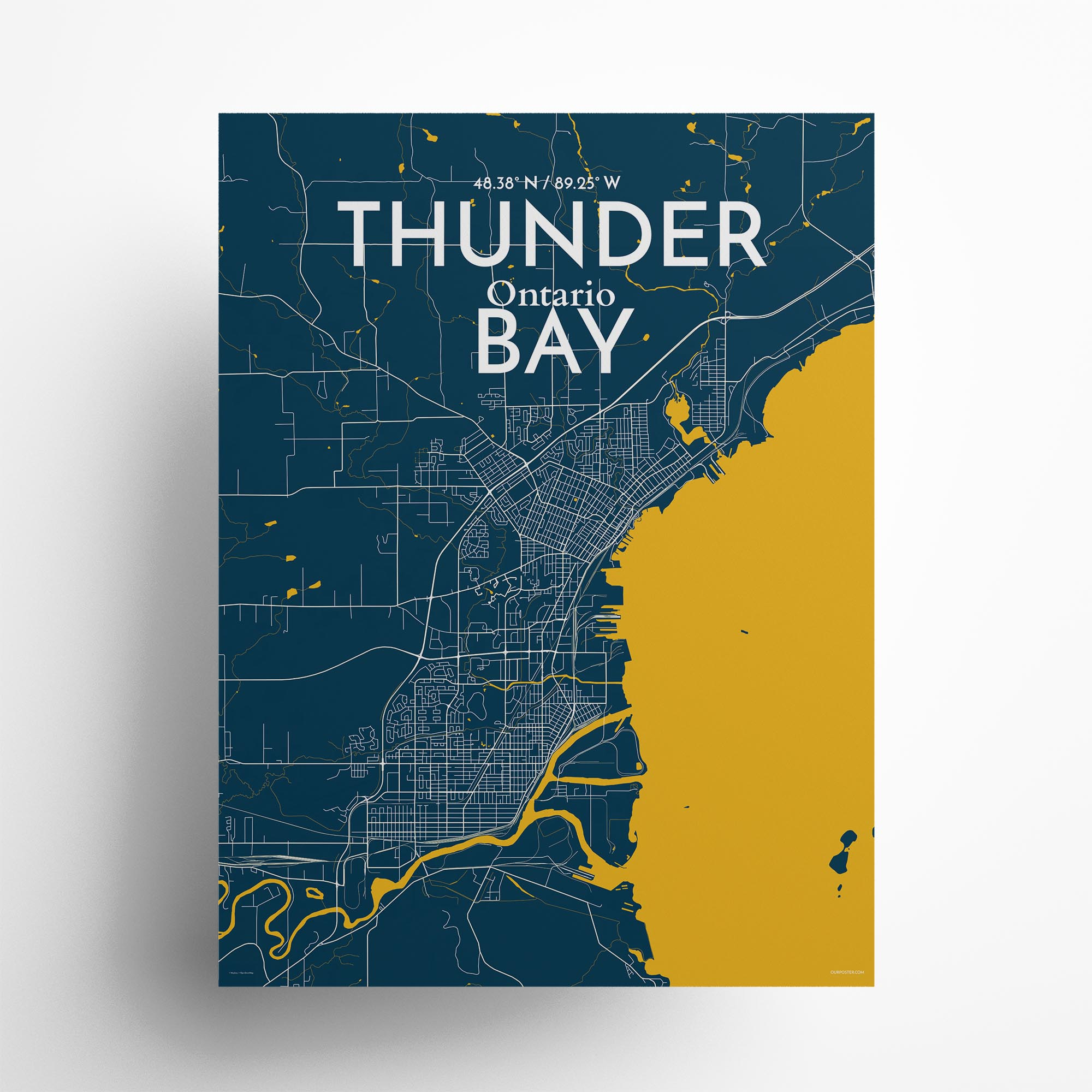 "Thunder Bay city map poster in Amuse of size 18"" x 24"""