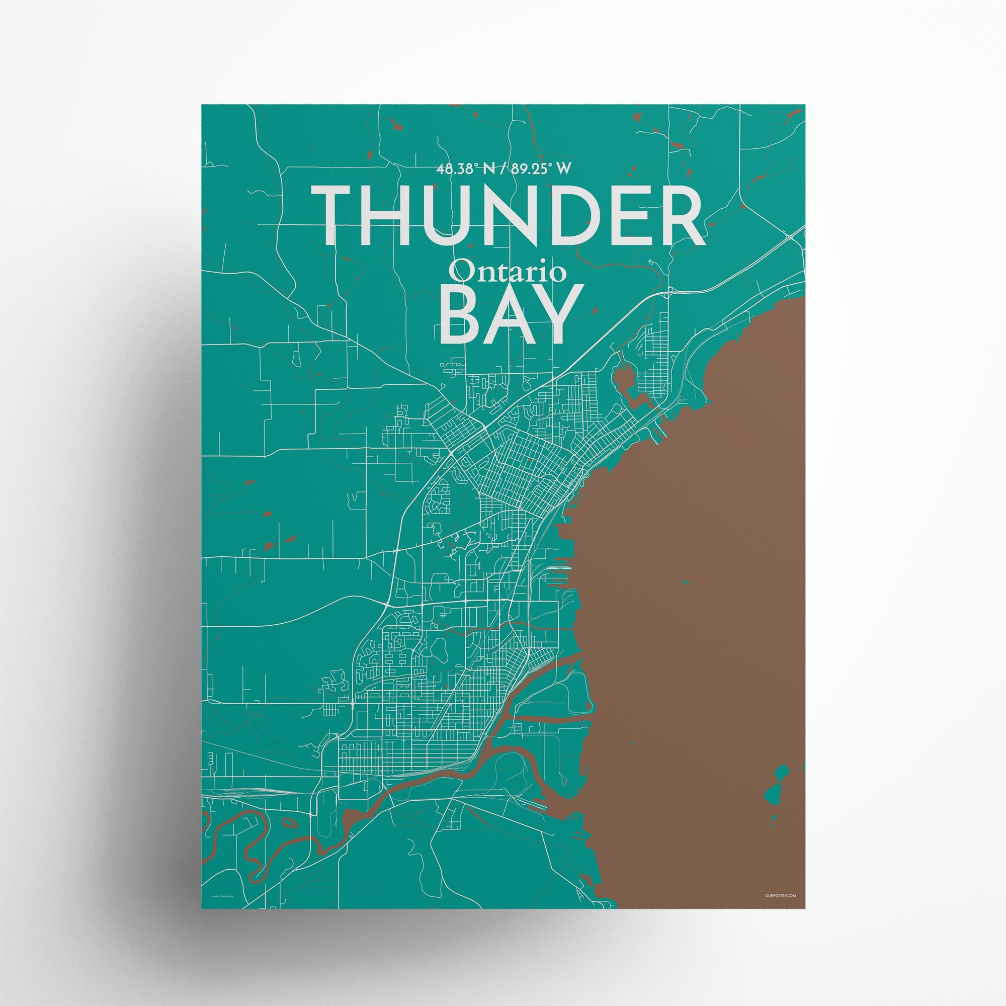 """Thunder Bay city map poster in Nature of size 18"""" x 24"""""""