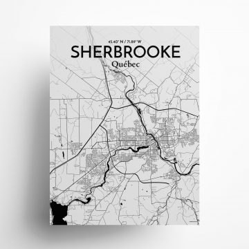 """Sherbrooke city map poster in Ink of size 18"""" x 24"""""""