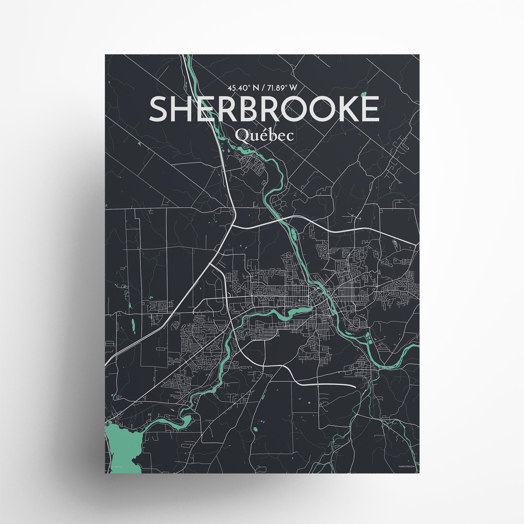 "Sherbrooke city map poster in Dream of size 18"" x 24"""