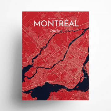 """Montreal city map poster in Nautical of size 18"""" x 24"""""""