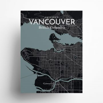 """Vancouver city map poster in Midnight of size 18"""" x 24"""""""