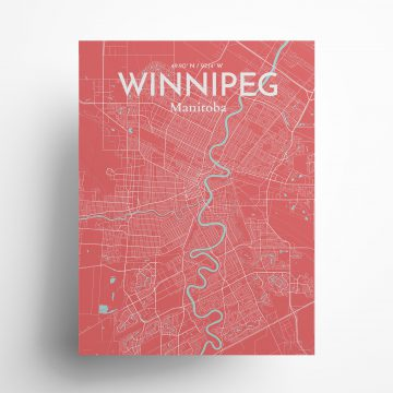 """Winnipeg city map poster in Maritime of size 18"""" x 24"""""""