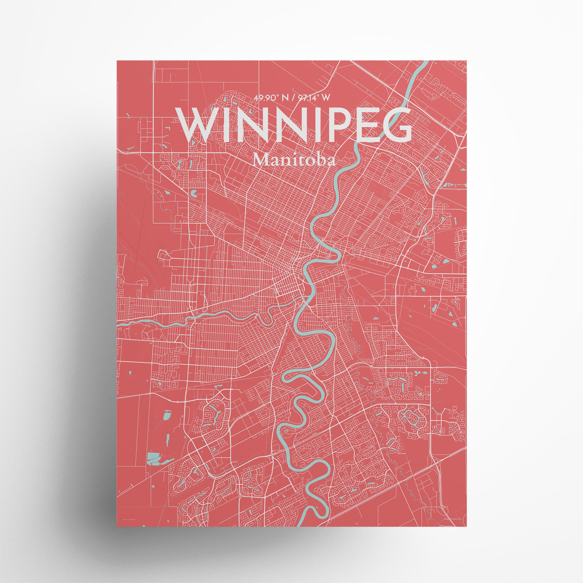 "Winnipeg city map poster in Maritime of size 18"" x 24"""