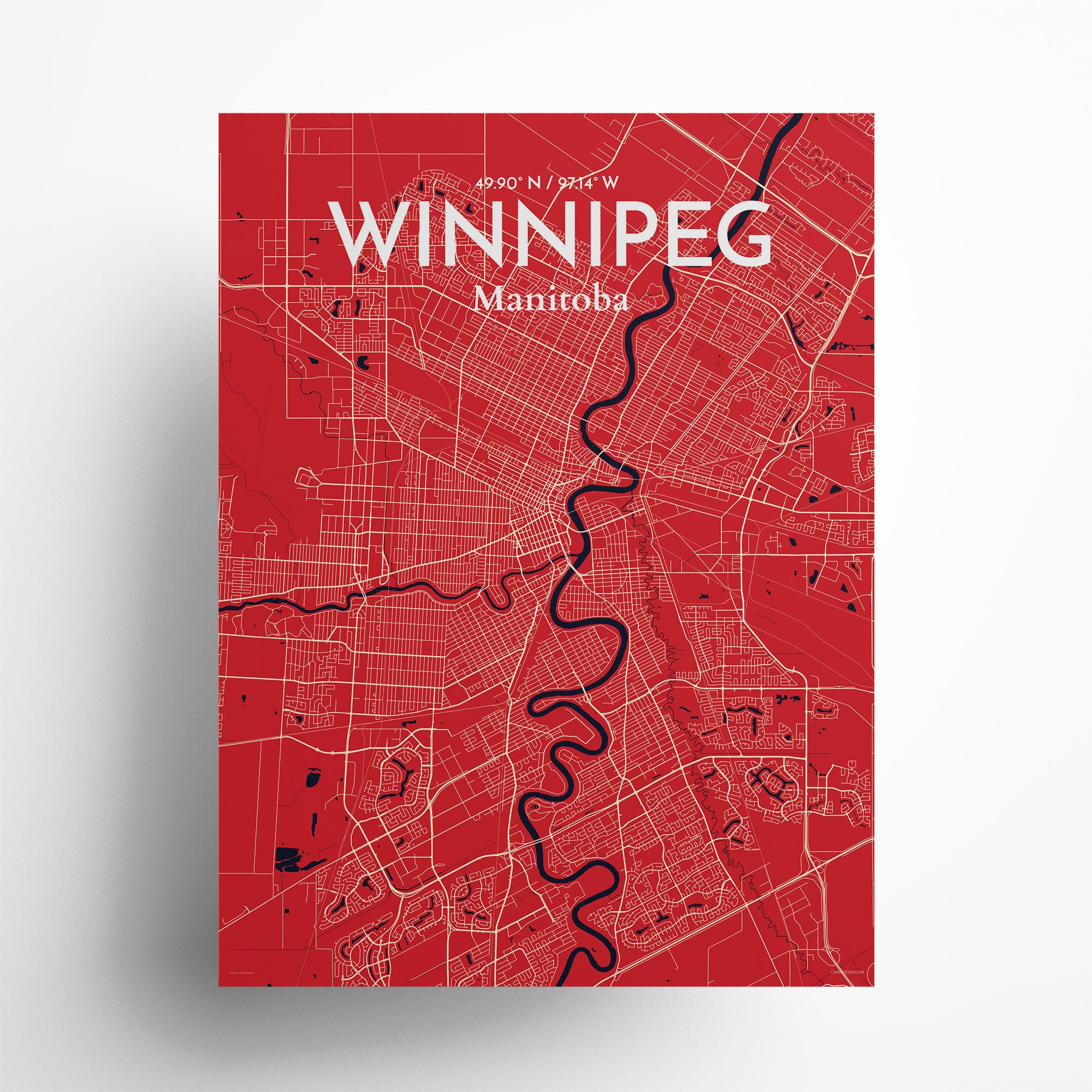 "Winnipeg city map poster in Nautical of size 18"" x 24"""