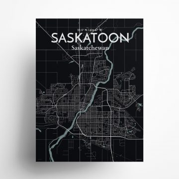 "Saskatoon city map poster in Midnight of size 18"" x 24"""
