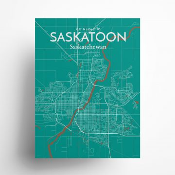 "Saskatoon city map poster in Nature of size 18"" x 24"""