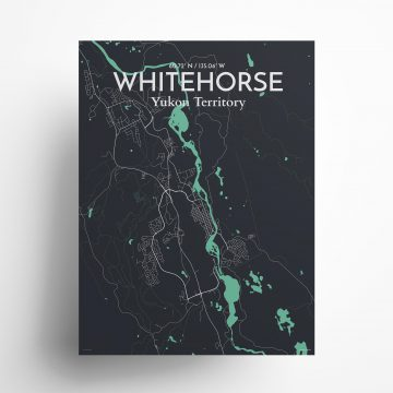 """Whitehorse city map poster in Dream of size 18"""" x 24"""""""