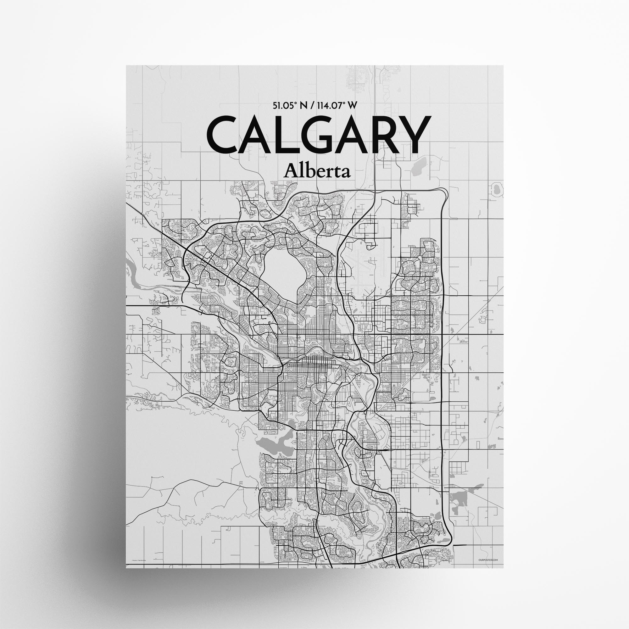 """Calgary city map poster in Tones of size 18"""" x 24"""""""