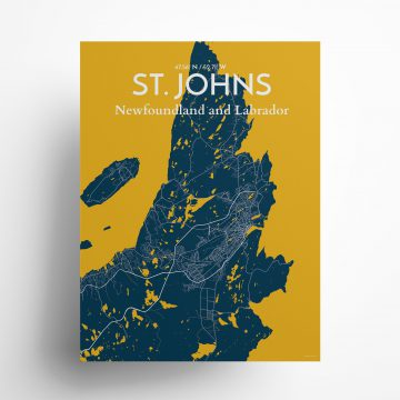 """St. Johns city map poster in Amuse of size 18"""" x 24"""""""