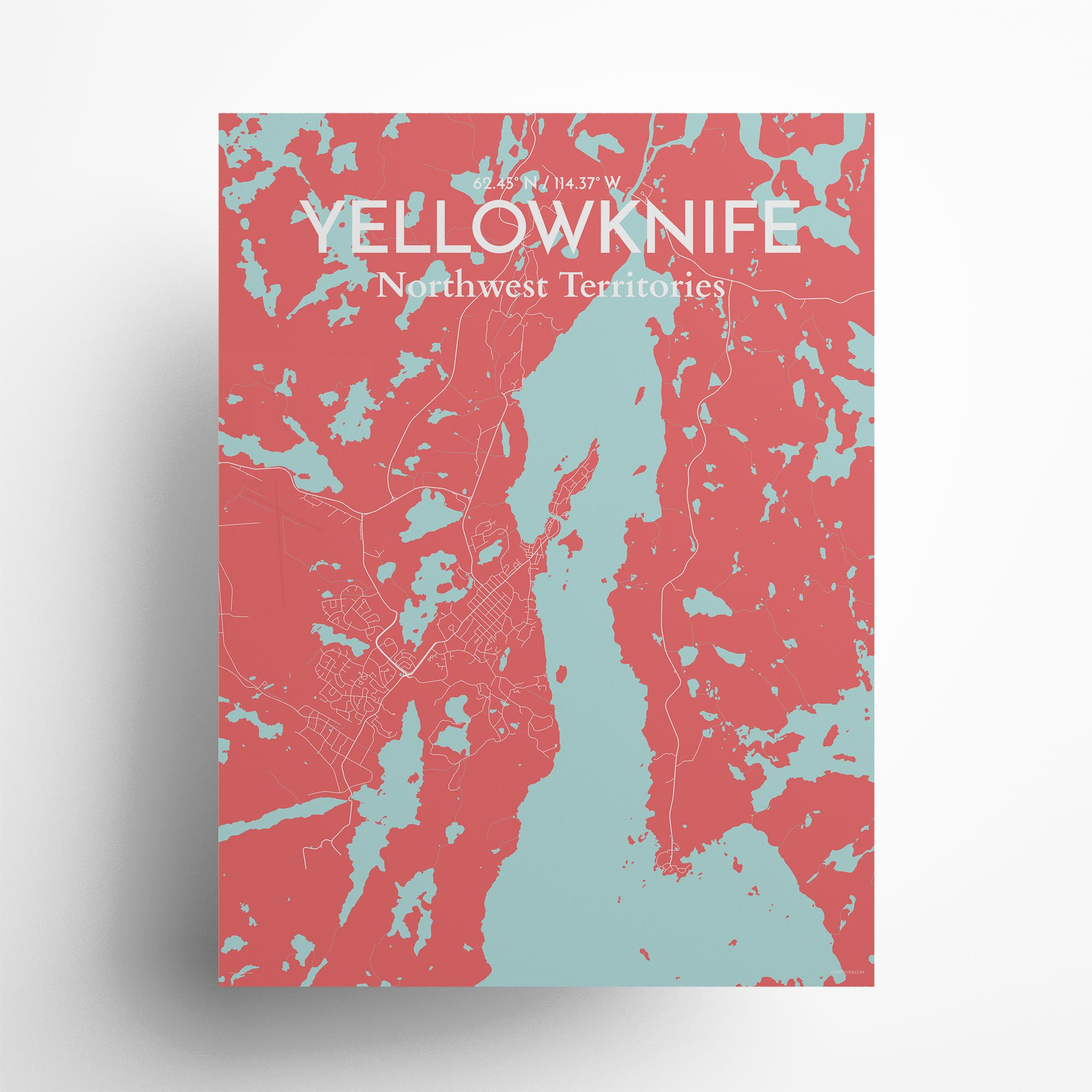 "Yellowknife city map poster in Maritime of size 18"" x 24"""
