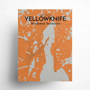 """Yellowknife city map poster in Oranje of size 18"""" x 24"""""""