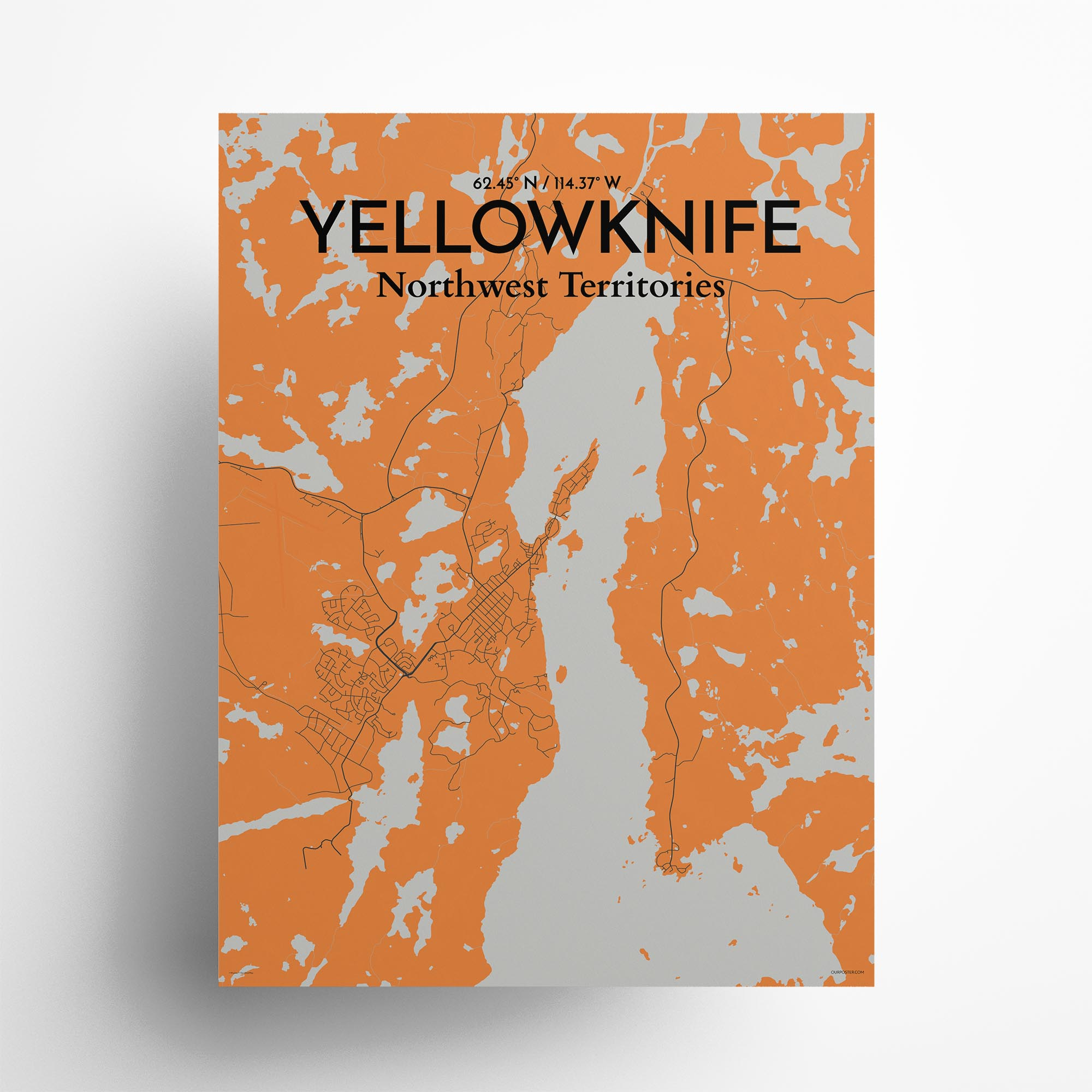 "Yellowknife city map poster in Oranje of size 18"" x 24"""