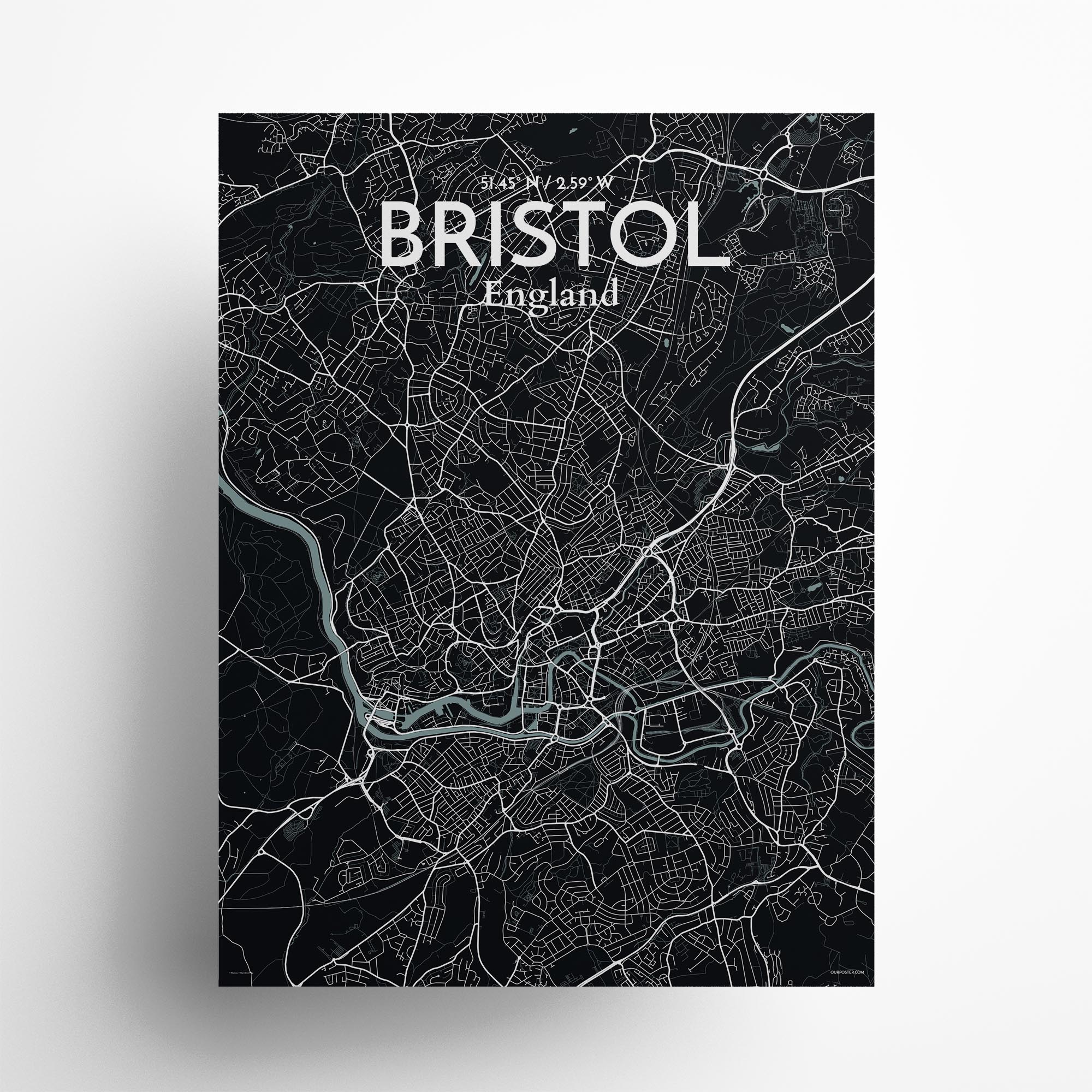 "Bristol city map poster in Midnight of size 18"" x 24"""